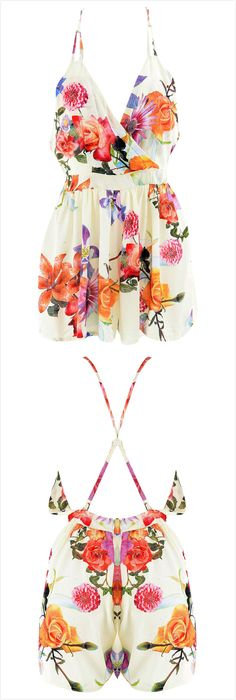 The romper featuring spaghetti strap. Open back with cross strap. Looks Style, Style Me, Summer Outfits, Cute Outfits, Spring Summer Fashion, Summer Wear, Casual Summer, Playsuits, Jumpsuits