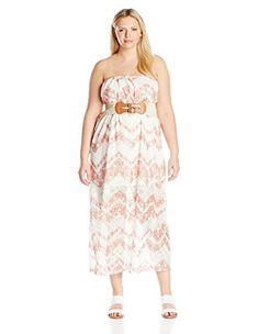 c456e03e2e468 Derek Heart Juniors Plus Size Lillys Aop Lace Illusion Belted Maxi Tube  Dress Cream Chevron 3X