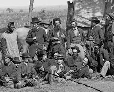 Detail from a photograph of scouts and guides of the Army of the Potomac, Brandy Station, Virginia, March 1864. Library of Congress.