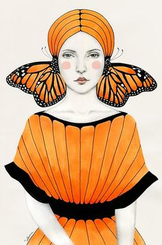 Sofia Bonati is a self taught artist from Argentina currently living in Englefield Green (UK). Her interests include illustration, painting and design. Art And Illustration, Butterfly Illustration, Art Inspo, Kunst Inspo, Sofia Bonati, Pop Art, Art Du Collage, Ouvrages D'art, Woman Drawing