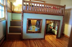 Stylish Eve DIY Projects: Build a Playhouse Loft Bed for Your Child Playhouse Loft Bed, Build A Loft Bed, Build A Playhouse, Inside Playhouse, Bunk Beds With Stairs, Kids Bunk Beds, Toddler Loft Beds, Elevated Bed, Diy Bett