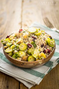 Winter barley with chestnuts, cranberry and brussel sprout