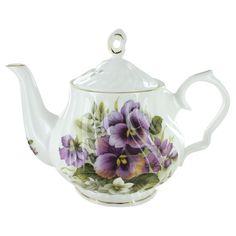 Porcelain+Teapots+|+Home+>+Purple+Pansy+Bone+China+-+6+Cup+Teapot