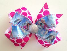 Large Pink Polka Dot Frozen Characters Bow-frozen Elsa Anna Olaf Disney bow #FROZEN
