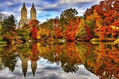 Two Towers over fall foliage in Central Park by Jeffrey Genova