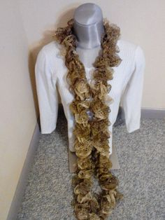 NWOT Women's Handmade Sashay Ruffle Scarf Gold/ Cream Colored #Handmade #Scarf #Anyoccision
