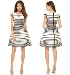 Halston Heritage Cap Sleeve Stripe Dress