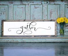 Wood Framed Signboard - Gather - L - 45x14