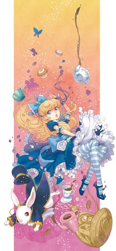 Anime / Manga Alice In Wonderland White Rabbit Tea Time