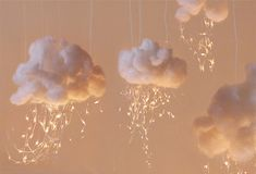 """cloud lights...easy to do and could use icicle light for """"rain""""...display with umbrellas turned upside down"""