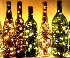 Create an enchanting environment in any room in your home by accenting it using a recycled wine bottle light. Ideal for creating a romantic mood, each lamp comes crammed with dozens of small twinkle lights that provide a unique glow depending on the bottle color.
