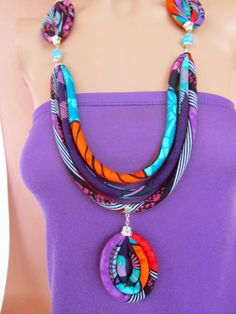 Long Purple Necklace/ Bright Colorful African Pendant necklace
