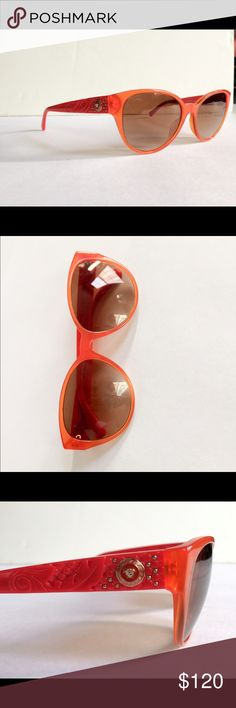 Versace orange shades beautiful detailing Beautiful Versace shades are sleek and bold. No scratches, great condition :) Versace Accessories Sunglasses