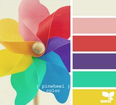 Pinwheel Color palette at Design Seeds. Colour Pallette, Colour Schemes, Color Combos, Design Seeds, Colour Board, Color Inspiration, Inspiration Boards, Rainbow Colors, Rainbow Palette
