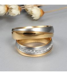 Elegent Gold and Silver Titanium Steel Gemstone Promise Ring for Couples Matching Couple Rings, Matching Promise Rings, Cheap Promise Rings, Promise Rings For Couples, Sterling Silver Rings, Gold Rings, Cheap Engagement Rings, Jewelry Website, Paros
