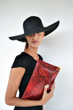 Red patent leather clutch / Handmade leather bag / by AnaKoutsi