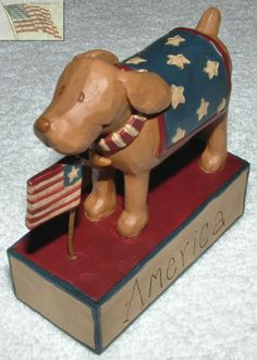 Blossom Bucket Patriotic Dog Standing 4th of July 103 81995 Figurine apx 3x3 | eBay