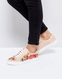 DUNE ETERNALL FLORAL BLUSH LEATHER SNEAKERS - PINK. #dune #shoes #