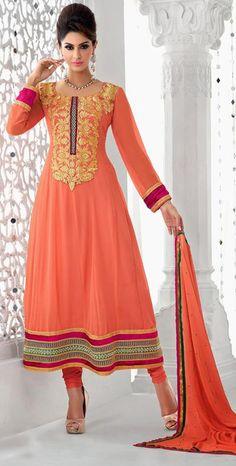 Peach Faux Georgette Thread Work Anarkali Salwar Kameez 2620355