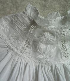 Antique Baby Dress/Christening Gown with Ayrshire Whitework Embroidery