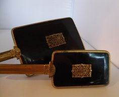Vintage Art Deco Hand Mirror and Hairbrush Set  Black with Brass