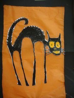 Silkkipaperille liimattu kissa. (Alakoulun aarreaitta -FB -sivustosta / Virva Wahlstedt)