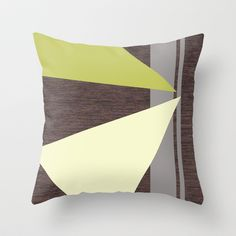 Espresso Wood with Gray, Lemon & Chartreuse Throw Pillow by Natalie Baca - $20.00
