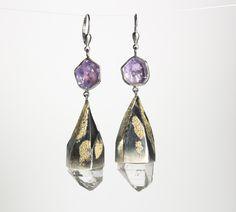 Ohrringe aus Gold,, Silber, Amethyst und Bergkristall Gold Silber, Drop Earrings, Jewelry, Fashion, Crystals, Ear Piercings, Moda, Jewlery, Jewerly