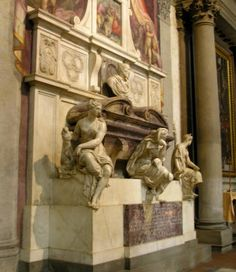 The tomb of Michelangelo can be found in the Santa Croce Church in Florence Italy.  So many wonderful things to see in this old, lovely city.