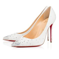 "Shoes - Degrastrass - Christian Louboutin C$ 1,445.00 Glisten from toe to head in ""Degrastrass"". This fanciful 100mm pump in white leather features a glimmering gradient of clear crystals concentrated at the base of the toe and heel. An exquisite but delicate style, it's best to slip them on when you arrive at the party."
