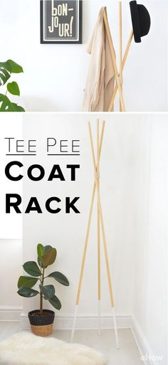 Wie man einen Tipi Hut und eine Garderobe macht This modern teepee coat stand is perfect for storing your jackets and hats, and its minimal design is great for contemporary homes. It's incredibly simple to make, no glue or screws required, and you can sta Hat And Coat Stand, Coat Stands, Diy Interior, Do It Yourself Regal, Diy Teepee, Diy Coat Rack, Standing Coat Rack, Minimal Design, Decoration