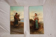 Pair of #Napolitan #paintings: one depicting a man on the bagpipes, the other a woman bouquet. Signed Giuseppe #Cimaglia (1849-1905). 19th cetury. For sale on #Proantic by Antiquités Paul Azzopardi.
