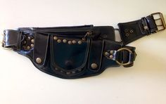 7c44eafb5d5 Black Leather Sycamore pocket belt/ belt bag/ festival belt/burning man belt/  utility belt