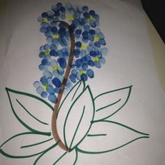 Blue bonnet flower finger painting. I used washable stamp pads with my class.