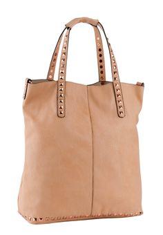 STUDS DECO HANDLES & BOTTOM LINE SHOPPER BAG City Bag, Shopper Bag, Studs, Deco, Bags, Accessories, Fashion, Handbags, Moda