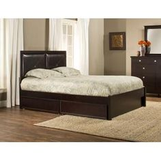 At once practical with a modern design, the Metro Martin Storage Bed is a multitasking anchor for your bedroom decor. The storage bed features two dark brown vinyl cushions in a tufted style. It also has two large castered drawers that conveniently fit under the bed and are ideal for storing linens, pillows and blankets. No box spring necessary and available in a rich espresso or warm cherry.