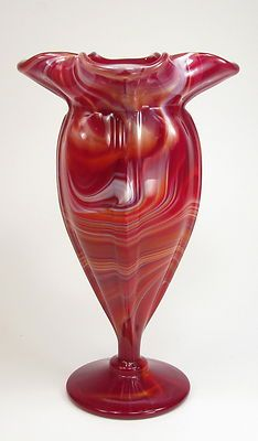 Imperial Glass Ruby or Red Slag Pinched Top Footed Vase | eBay