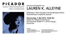 Reading with Lauren K. Alleyne on May 7 2015 in Leipzig. Don't miss!