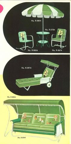 """nemfrog: """" Green garden furniture _Canvas and Metal Products by Hettrick_ 1940 """" Mid Century Art, Mid Century House, Mid Century Style, Green Garden Furniture, Lawn Furniture, Vintage Room, Vintage Home Decor, Retro Vintage, Retro Home"""