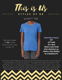 Blaine Bowen Styles: Our Wyatt Tee is our Indy Tee without the Hand Crafted Distressing. Indie, Unisex, Tees, How To Wear, Style, Swag, Chemises, Tee Shirts, Stylus