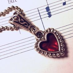 Heart Necklace  Silver Heart  2 sided charm  by ChristianJewelry4U
