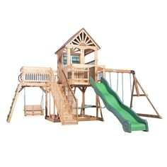 Beachhouse styling & plenty of room make the Caribbean Wooden Swing Set by Backyard Discovery a great choice for your backyard. The clubhouse has a cabana look