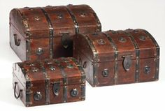 Wooden domed top chests