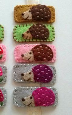 Felt hairclip  Hedgehog / wool blend felt  cute hair clip by DusiCrafts on Etsy