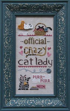 Raise the Roof: Official Crazy Cat Lady - Cross Stitch Pattern