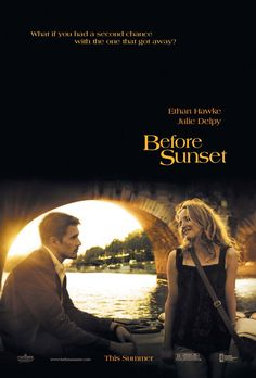 (Paris) Before Sunset a film by Richard Linklater with Ethan Hawke and Julie Delpy Before Sunset Movie, Sunset Movies, Before Sunrise, Julie Delpy, Best Indie Movies, Good Movies, Watch Movies, Love Movie, Movie Tv
