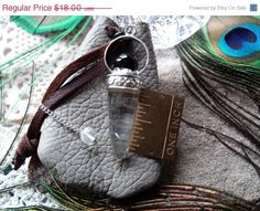 ON SALE Green Soft Leather Pouch and Quartz by CherylsGoodStuff