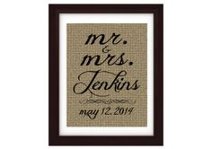 Mr. & Mrs. Burlap 8x10 Print. - TheWeddingMile.com Post Wedding, Chic Wedding, Wedding Day, Newlywed Gifts, Newlyweds, Wedding Colors, Bliss, Burlap, Shabby Chic