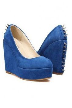91c71597f3ef GrabMyLook Spike Faux Suede Punk Rock Wedges Platforms High Heels Shoes  Punk Rock