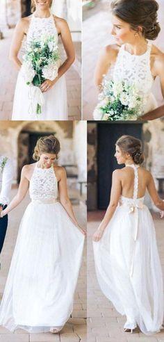 Simple Jewel Sleeveless Chiffon Lace Top Wedding Dress,Lace Tulle Beach Wedding Dress with belt #weddingdresses #bridaldresses #whitelacepromdresses #prom #dresses #longpromdress #promdress #eveningdress #promdresses #partydresses